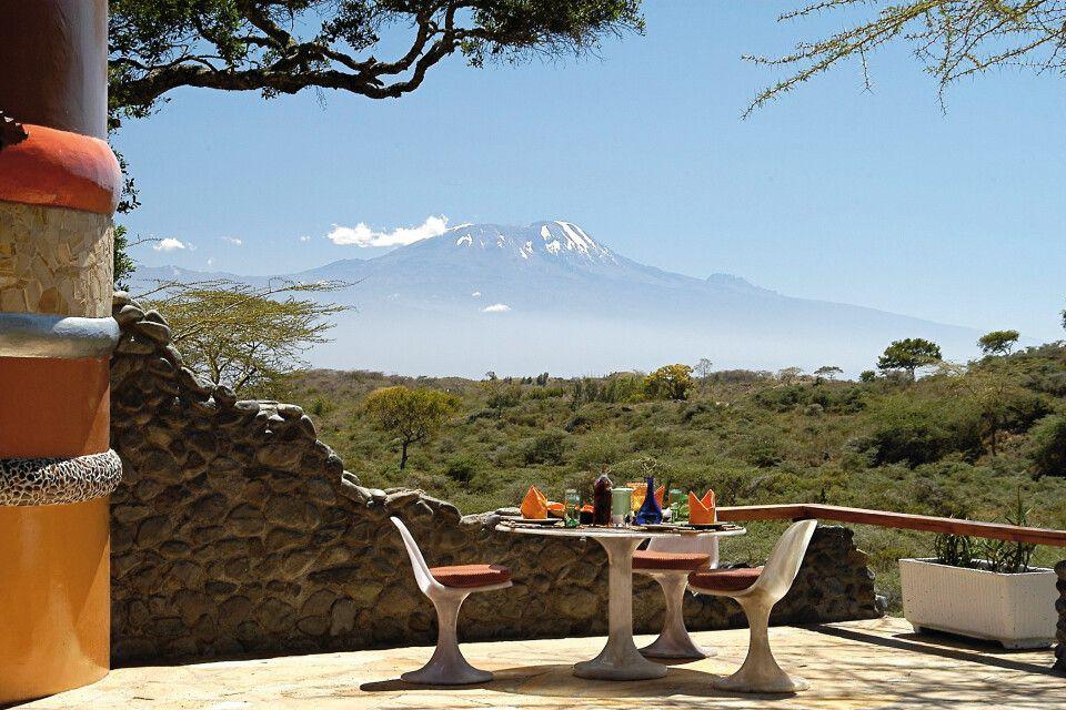 Terrasse, Blick auf Kilimanjaro