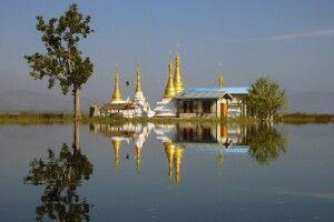 Auf der Bootsfahrt vom südlichen Ende des Inle-Sees zwischen Sagar und Thar Khaung