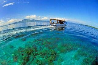 Blaues Meer und Korallen vor Nordsulawesi