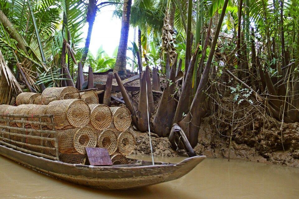 Reusen auf einem Boot im Mekongdelta
