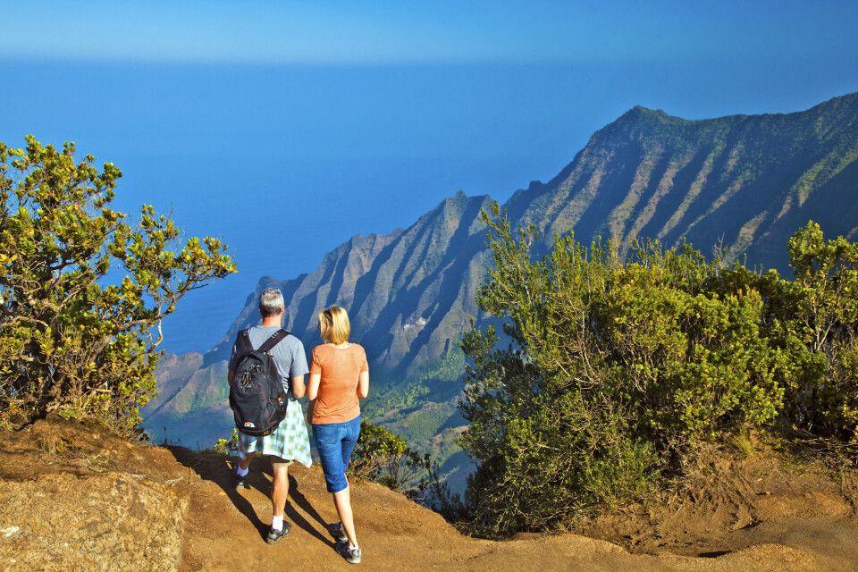 Wanderung auf dem Kalalau-Trail an der Napali-Küste Kauai's