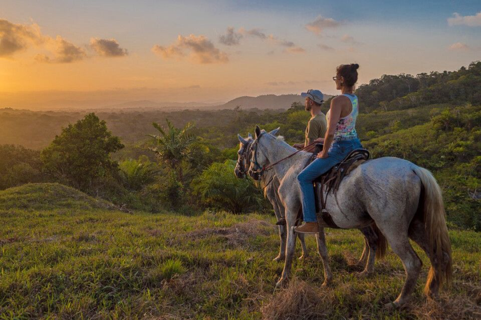 Pferdeausritt mit Blick auf den Sonnenuntergang