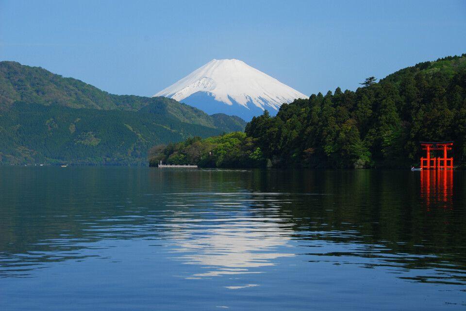 Blick auf den Mt. Fuji-san vom Ashi-See in Hakone