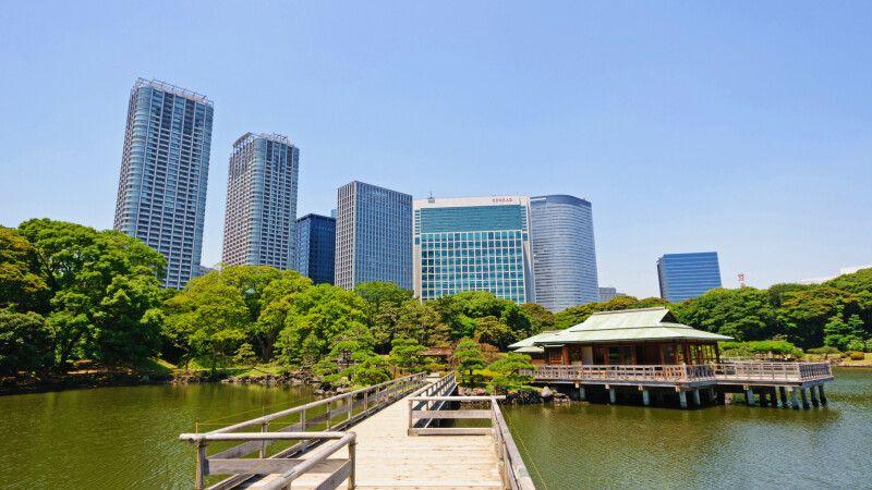 Der Hamarikyu Garten in der Bucht von Tokio © Diamir