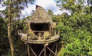 palmenbedeckten Hütte im Ngaga Camp