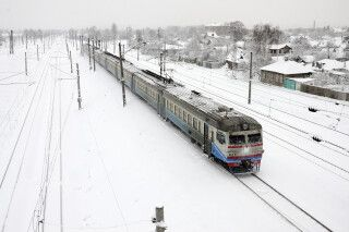 Russische Eisenbahnlandschaft im Winter